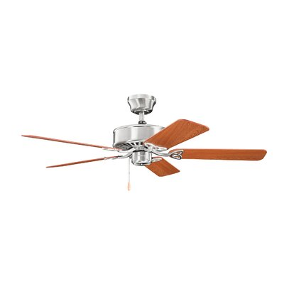 50 Borgen 5-Blade Steel Ceiling Fan Finish: Brushed Stainless Steel with Oak Blades