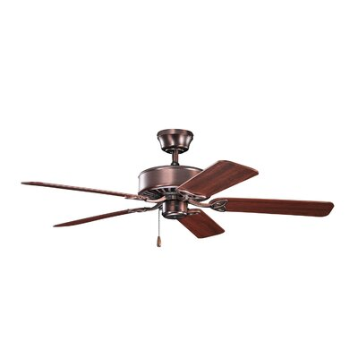50 Borgen 5-Blade Steel Ceiling Fan Finish: Oil Brushed Bronze with Walnut/Cherry Blades