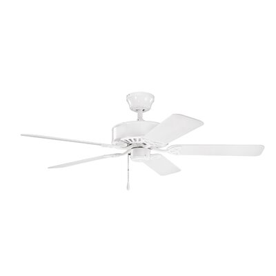 50 Borgen 5-Blade Steel Ceiling Fan Finish: White with White Blades
