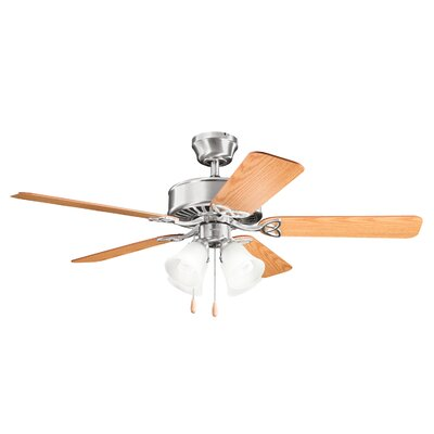 Birch Creek 50 Borgen 5-Blade Ceiling Fan Finish: Brushed Stainless Steel with Oak Blades