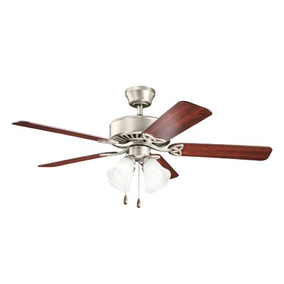 50 Renew Premier 5-Blade Ceiling Fan Finish: Brushed Nickel with Walnut and Cherry Blades