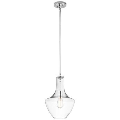 Everly 1-Light Schoolhouse Pendant Finish: Chrome