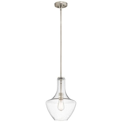 Sutton Pendant Shade: Seeded Glass, Size: Small, Finish: Brushed Nickel
