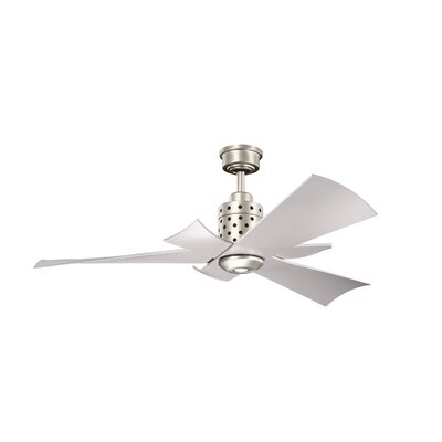 56 Chelvey 5 Blade LED Ceiling Fan Finish: Brushed Nickel With Silver Blades