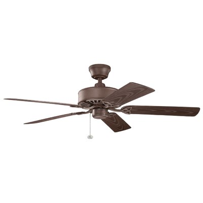 52 Borgen 5-Blade Ceiling Fan Finish: Tannery Bronze Powder Coat with Brown Blades
