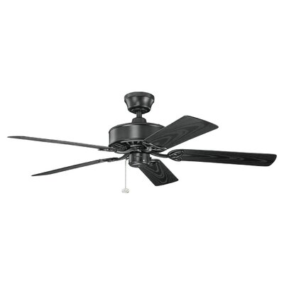 52 Renew Patio 5-Blade Ceiling Fan Finish: Satin Black with Satin Natural Black Blades