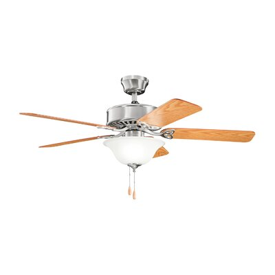 50 Borgen Traditional 5-Blade Ceiling Fan Finish: Brushed Nickel with Light Cherry/Walnut Blades