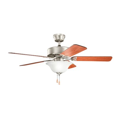 50 Borgen Traditional 5-Blade Ceiling Fan Finish: Brushed Stainless Steel with Med/Dark Oak Blades