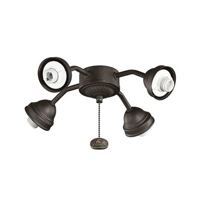 4-Light Bent Arm Fan Fitter Finish: Satin Natural Bronze