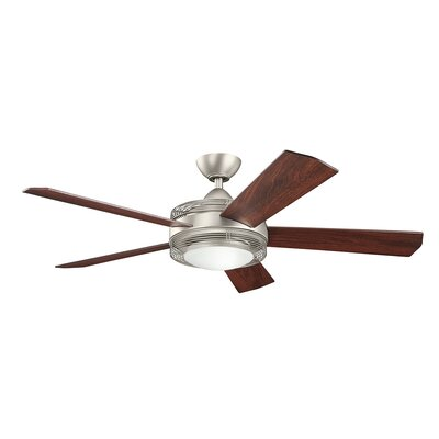 60 Enthrall 5 Blade LED Ceiling Fan Finish: Brushed Nickel with Walnut Blades
