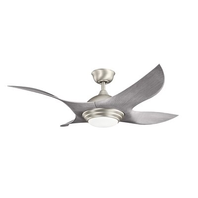 52 Shuriken 4-Blade Ceiling Fan Finish: Brushed Nickel with Driftwood Blades