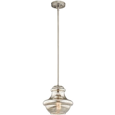 Berge 1-Light Schoolhouse Pendant Finish: Brushed Nickel, Shade Color: Mercury