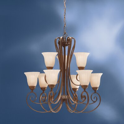Bafford Rustic 9-Light Shaded Chandelier