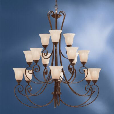 Bafford Traditional 15-Light Shaded Chandelier
