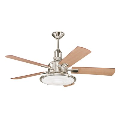 52 Kittery Point 5-Blade Ceiling Fan Finish: Polished Nickel with Cherry/Maple Blades