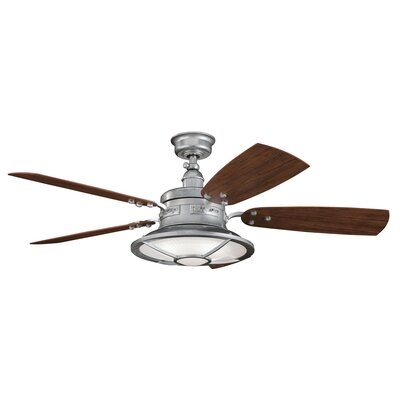 52 Maglione 5 Blade Patio LED Ceiling Fan Finish: Galvanized Steel with Cherry/Walnut