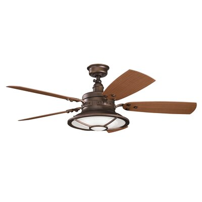 52 Maglione 5 Blade Patio LED Ceiling Fan Finish: Weathered Copper with Dark/Light Walnut