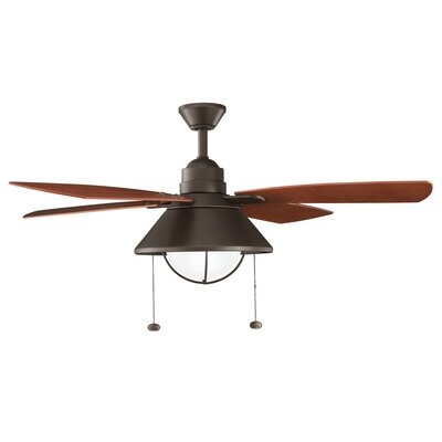 Low Price 54 inches Seaside 4 Blade Ceiling Fan Finish: Olde Bronze with Walnut Blades
