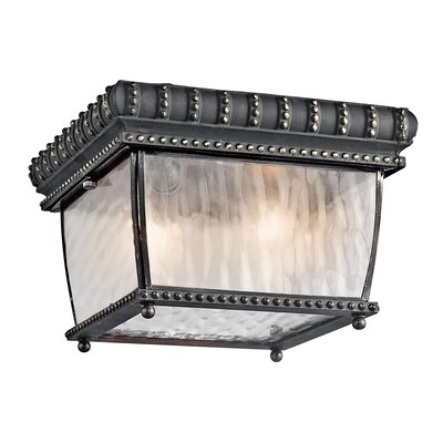 Venetian Rain 2-Light Flush Mount Finish: Black/Gold