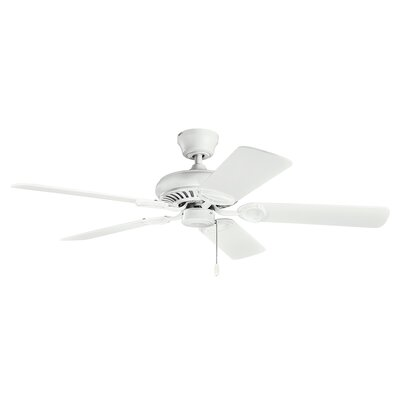52 Sutter Place 5-Blade Ceiling Fan Finish: Matte White with White Blades