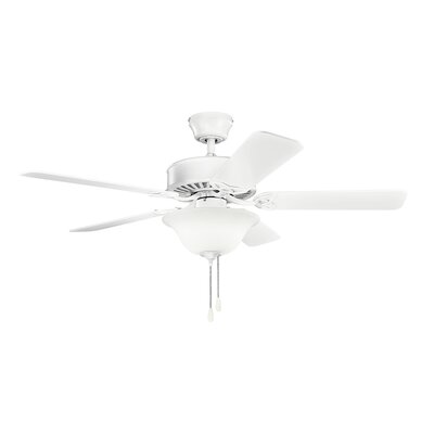 50 Borgen Traditional 5-Blade Ceiling Fan Finish: Matte White with White Blades