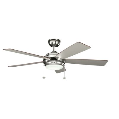 52 Starkk 5 Blade Ceiling Fan Finish: Polished Nickel with Silver and Walnut Blades