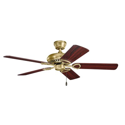 52 Sutter Place 5-Blade Ceiling Fan Finish: Natural Brass with Med/Dark Cherry Blades