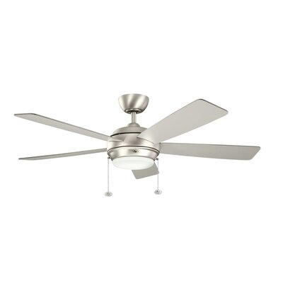 52 Starkk 5-Blade Ceiling Fan Finish: Brushed Nickel with Silver and Walnut Blades