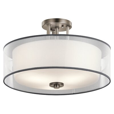 Prall 3-Light Semi Flush Mount Finish: Pewter