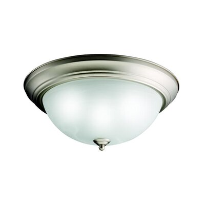 White Alabaster Flush Mount in Brushed Nickel - Energy Star Size: Small, Finish: Brushed Nickel