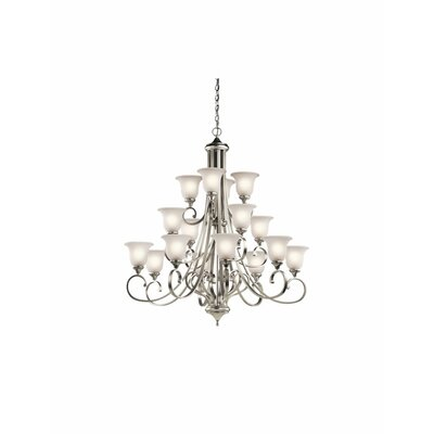 Monroe 16-Light Shaded Chandelier Finish: Brushed Nickel