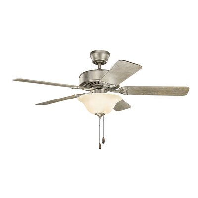 50 Borgen Traditional 5-Blade Ceiling Fan Finish: Sterling Gold with Walnut/Sterling Gold Blades