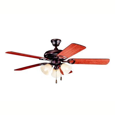 52 Sutter Place Premier 5-Blade Ceiling Fan Finish: Oil Brushed Bronze with Cherry/Walnut Blades