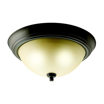 White Alabaster Flush Mount in Brushed Nickel - Energy Star Size: Small, Finish: Bronze