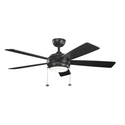 52 Starkk 5-Blade Ceiling Fan Finish: Satin Black with Satin Natural Black Blades