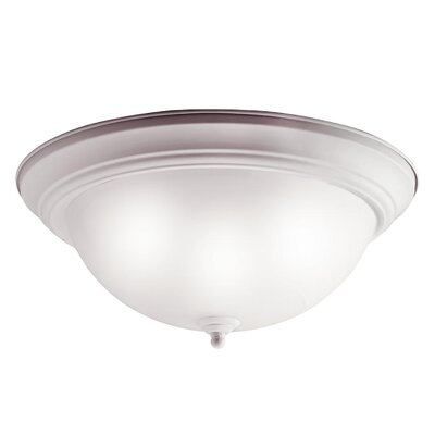 White Alabaster Flush Mount in Brushed Nickel - Energy Star Size: Small, Finish: White