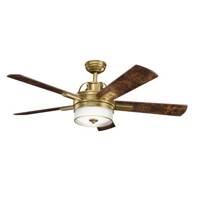 Low Price 52 inches Lacey 5 Blade Ceiling Fan Finish: Burnished Antique Brass with Burl/Poplar Blades