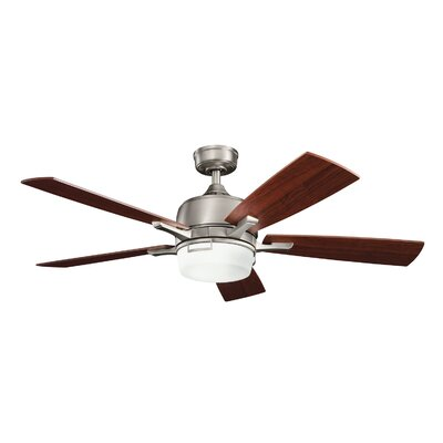 52 Bonifant 5 Blade LED Ceiling Fan Finish: Antique Pewter with Dark/Light Cherry Blades