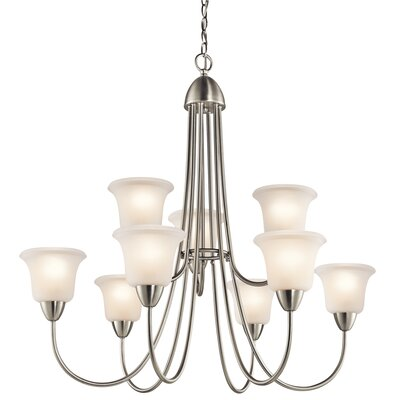 Ledbetter 9-Light Shaded Chandelier Finish: Brushed Nickel