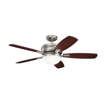 52 Rhames 5 Blade LED Ceiling Fan Finish: Antique Pewter with Black Cherry/Light Cherry Blad