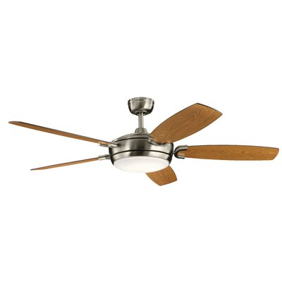 60 Wicker Park 5 Blade LED Ceiling Fan Finish: Brushed Stainless Steel with Walnut/Cherry Blades