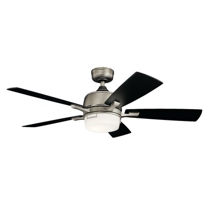 52 Gabby 5 Blade LED Ceiling Fan Finish: Brushed Nickel with Black/Silver Blades