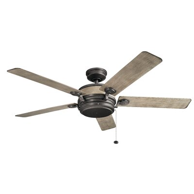 60 Sherley 5 Blade Outdoor Ceiling Fan Finish: Anvil Iron with Distress Ant Gray Blades