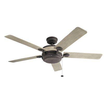 60 Sherley 5 Blade Outdoor Ceiling Fan Finish: Weathered Zinc with Weathered White Blades