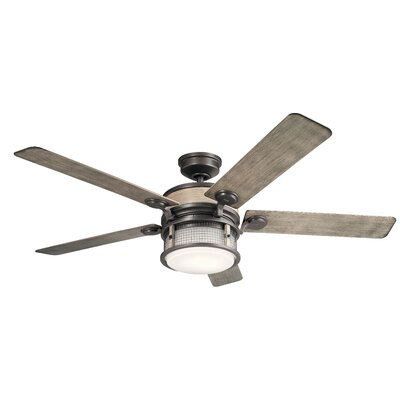 60 Sherita 4 Blade Outdoor LED Ceiling Fan Finish: Anvil Iron with Distress Ant Gray Blades