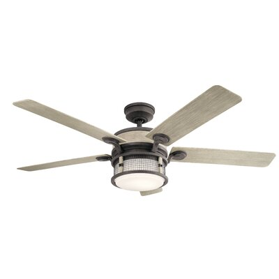 60 Sherita 4 Blade Outdoor LED Ceiling Fan Finish: Weathered Zinc with Weathered White Blades