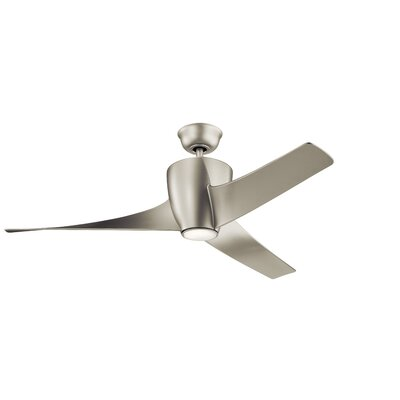 56 Alberta 3 Blade Outdoor LED Ceiling Fan Finish: Brushed Nickel