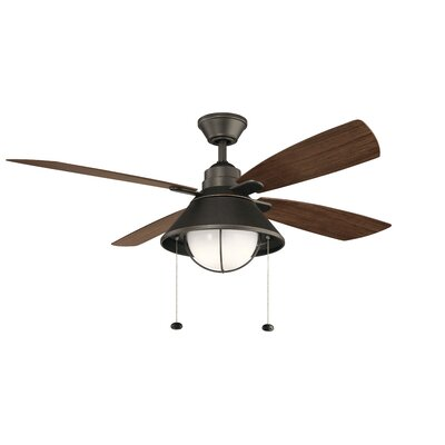 54 Menendez 4 Blade Outdoor LED Ceiling Fan Finish: Old Bronze with Walnut Blades