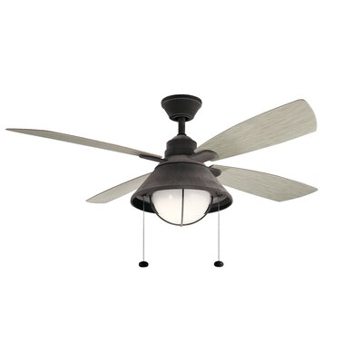 54 Menendez 4 Blade Outdoor LED Ceiling Fan Finish: Weathered Zinc with Weathered White Blades