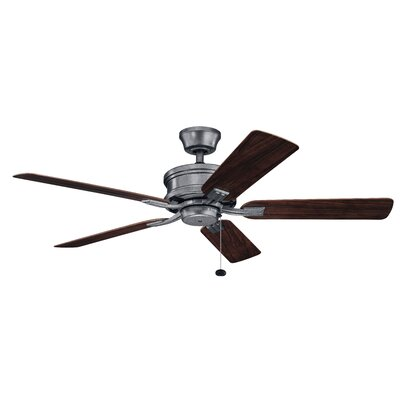 52 Kathleen 5 Blade Outdoor Ceiling Fan Finish: Weathered Zinc with Dark Walnut/Weathered White Bl